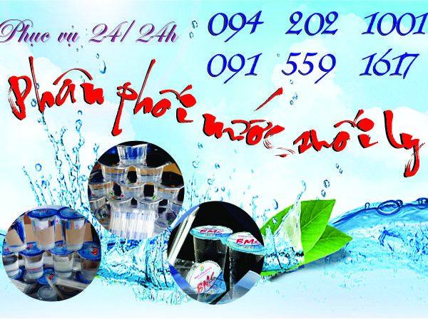 Phân phối nước uống đóng ly, nước suối ly Wami, BMS, TOP